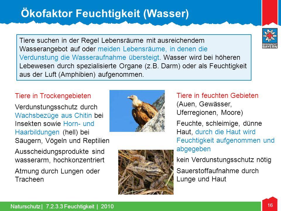 Naturschutz | 16 Tiere in Trockengebieten Verdunstungsschutz durch Wachsbezüge aus Chitin bei Insekten sowie Horn- und Haarbildungen (hell) bei Säuger