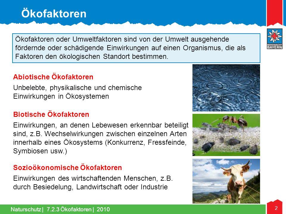 Naturschutz | 2 Ökofaktoren oder Umweltfaktoren sind von der Umwelt ausgehende fördernde oder schädigende Einwirkungen auf einen Organismus, die als F