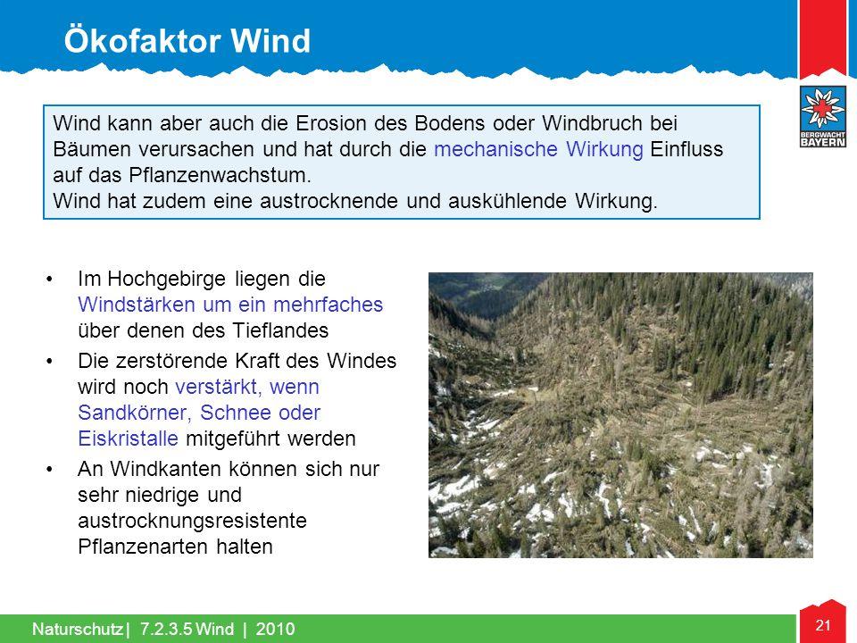 Naturschutz | 21 Wind kann aber auch die Erosion des Bodens oder Windbruch bei Bäumen verursachen und hat durch die mechanische Wirkung Einfluss auf d