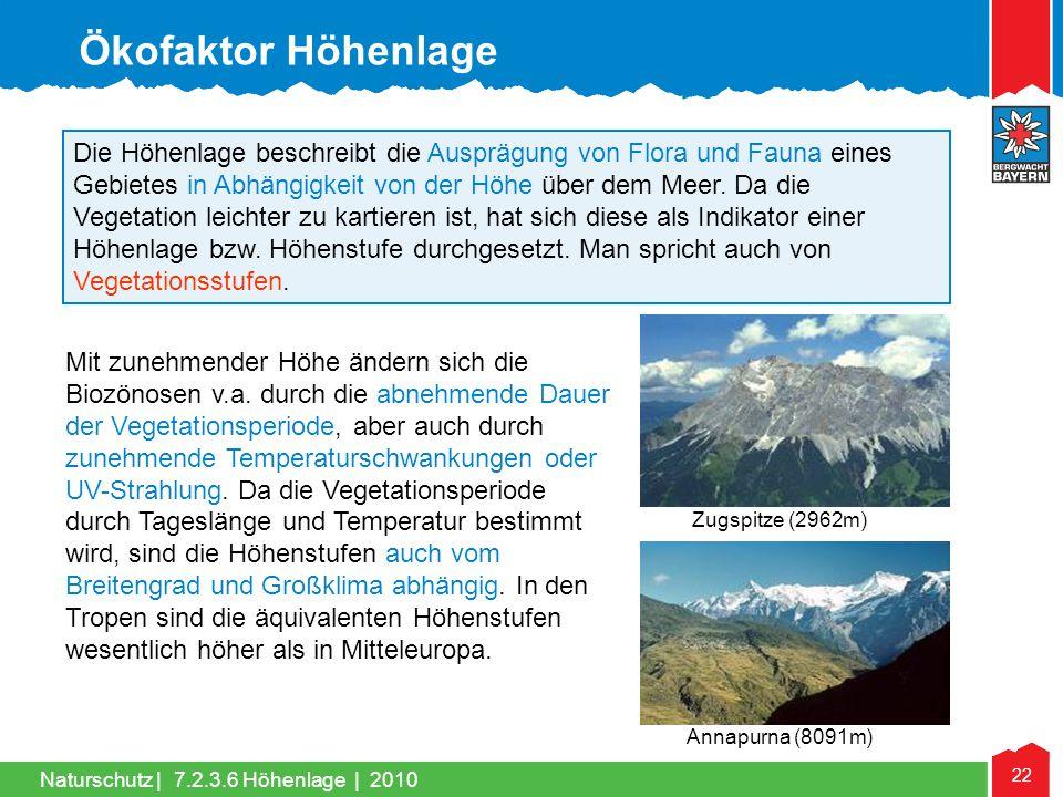Naturschutz | 22 Die Höhenlage beschreibt die Ausprägung von Flora und Fauna eines Gebietes in Abhängigkeit von der Höhe über dem Meer. Da die Vegetat