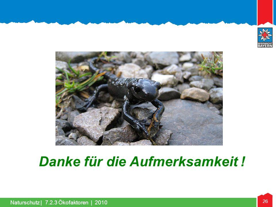 Naturschutz | 26 Danke für die Aufmerksamkeit ! 7.2.3 Ökofaktoren | 2010