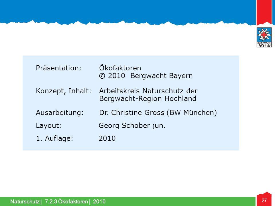 Naturschutz | 27 7.2.3 Ökofaktoren | 2010 Präsentation: Ökofaktoren © 2010 Bergwacht Bayern Konzept, Inhalt: Arbeitskreis Naturschutz der Bergwacht-Re