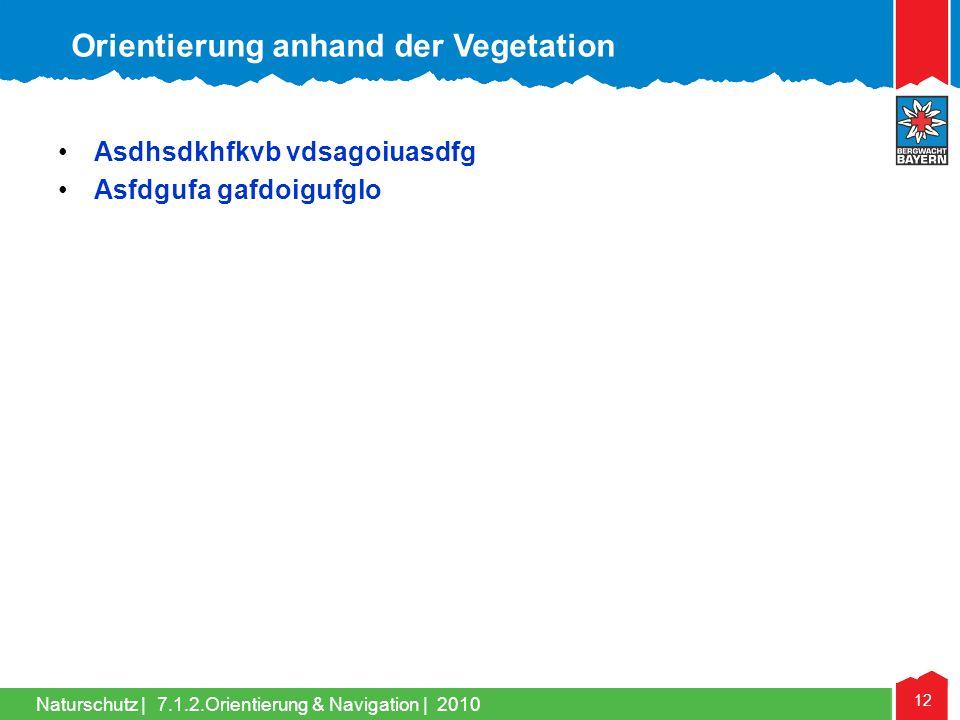 Naturschutz | 12 7.1.2.Orientierung & Navigation | 2010 Asdhsdkhfkvb vdsagoiuasdfg Asfdgufa gafdoigufglo Orientierung anhand der Vegetation