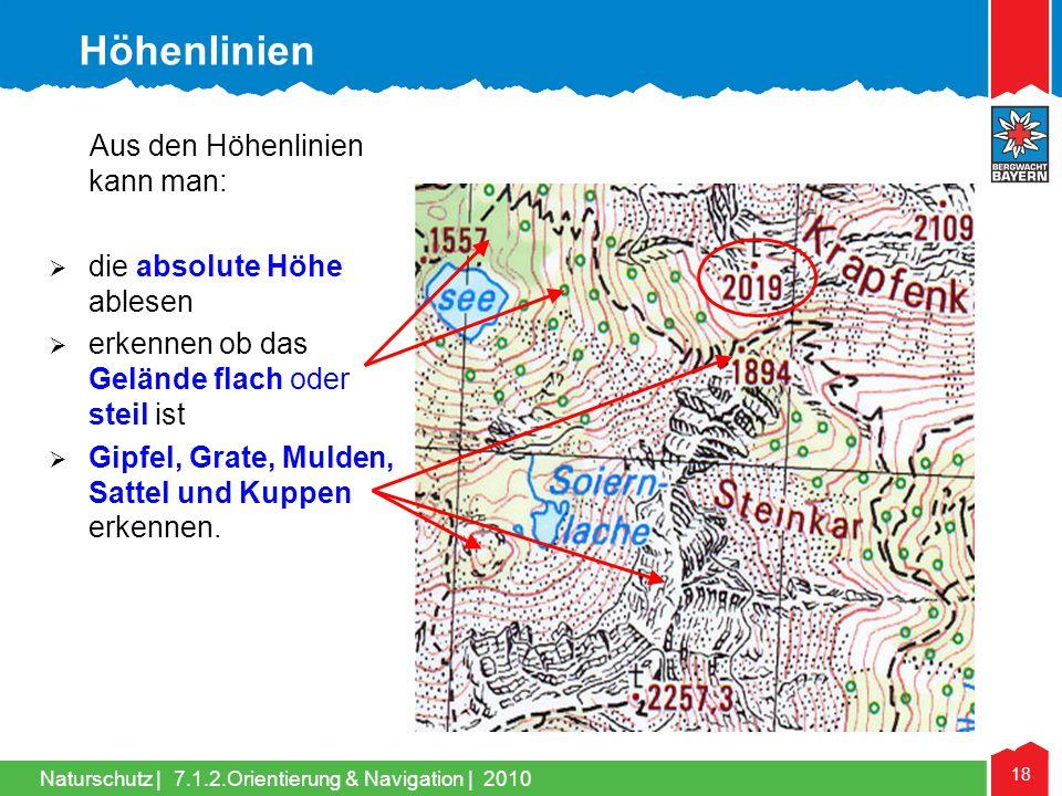 Naturschutz | 18 7.1.2.Orientierung & Navigation | 2010 Aus den Höhenlinien kann man: die absolute Höhe ablesen erkennen ob das Gelände flach oder ste