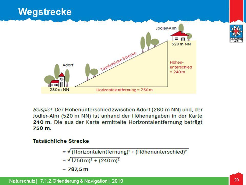 Naturschutz | 20 7.1.2.Orientierung & Navigation | 2010 Wegstrecke