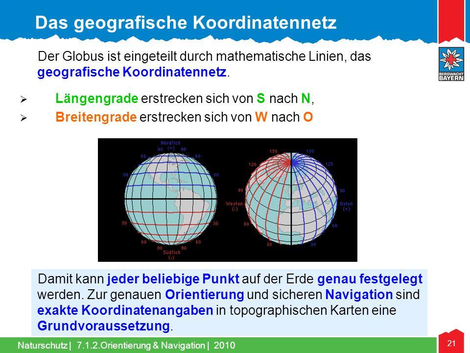 Naturschutz | 21 7.1.2.Orientierung & Navigation | 2010 Der Globus ist eingeteilt durch mathematische Linien, das geografische Koordinatennetz. Längen
