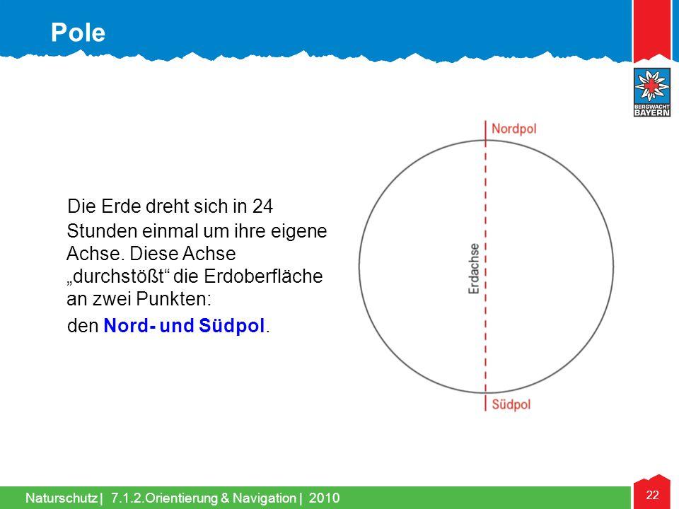 Naturschutz | 22 7.1.2.Orientierung & Navigation | 2010 Die Erde dreht sich in 24 Stunden einmal um ihre eigene Achse. Diese Achse durchstößt die Erdo