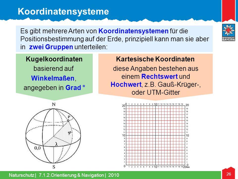 Naturschutz | 26 7.1.2.Orientierung & Navigation | 2010 Kugelkoordinaten basierend auf Winkelmaßen, angegeben in Grad ° Koordinatensysteme Es gibt meh