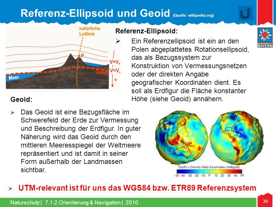 Naturschutz | 39 7.1.2.Orientierung & Navigation | 2010 Referenz-Ellipsoid: Ein Referenzellipsoid ist ein an den Polen abgeplattetes Rotationsellipsoi