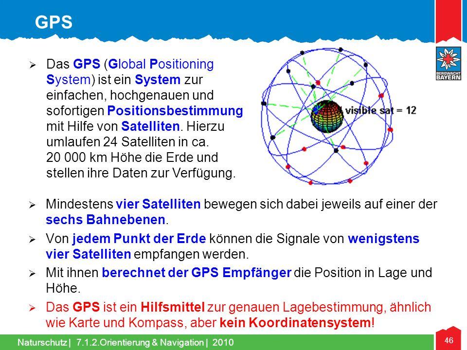 Naturschutz | 46 7.1.2.Orientierung & Navigation | 2010 Mindestens vier Satelliten bewegen sich dabei jeweils auf einer der sechs Bahnebenen. Von jede