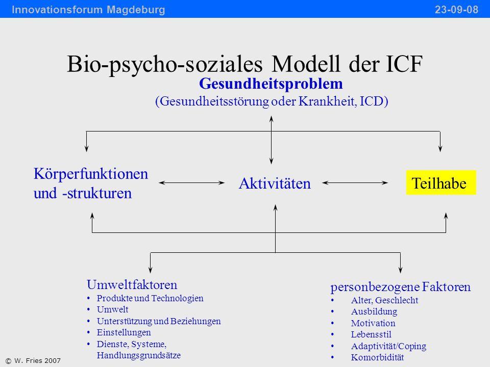 Körperfunktionen Personbezogene Faktoren Umweltbezogene Faktoren % Anteile der Komponenten der Gesundheit an der Beeinträchtigung der Teilhabe (%) N = 49 © W.
