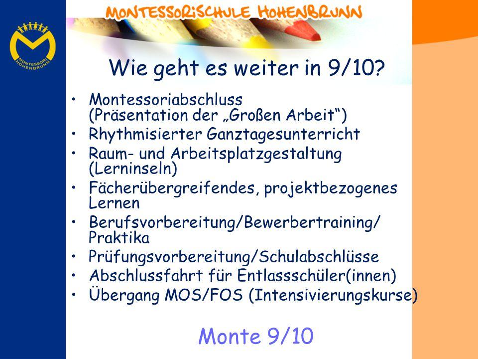 Wie geht es weiter in 9/10? Montessoriabschluss (Präsentation der Großen Arbeit) Rhythmisierter Ganztagesunterricht Raum- und Arbeitsplatzgestaltung (