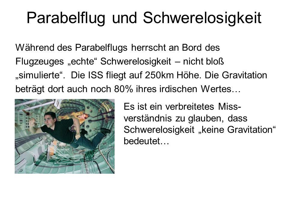 Parabelflug und Schwerelosigkeit Während des Parabelflugs herrscht an Bord des Flugzeuges echte Schwerelosigkeit – nicht bloß simulierte. Die ISS flie