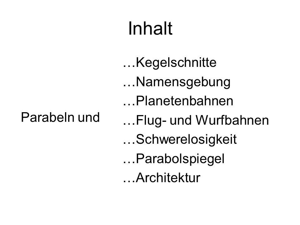 Inhalt …Kegelschnitte …Namensgebung …Planetenbahnen …Flug- und Wurfbahnen …Schwerelosigkeit …Parabolspiegel …Architektur Parabeln und
