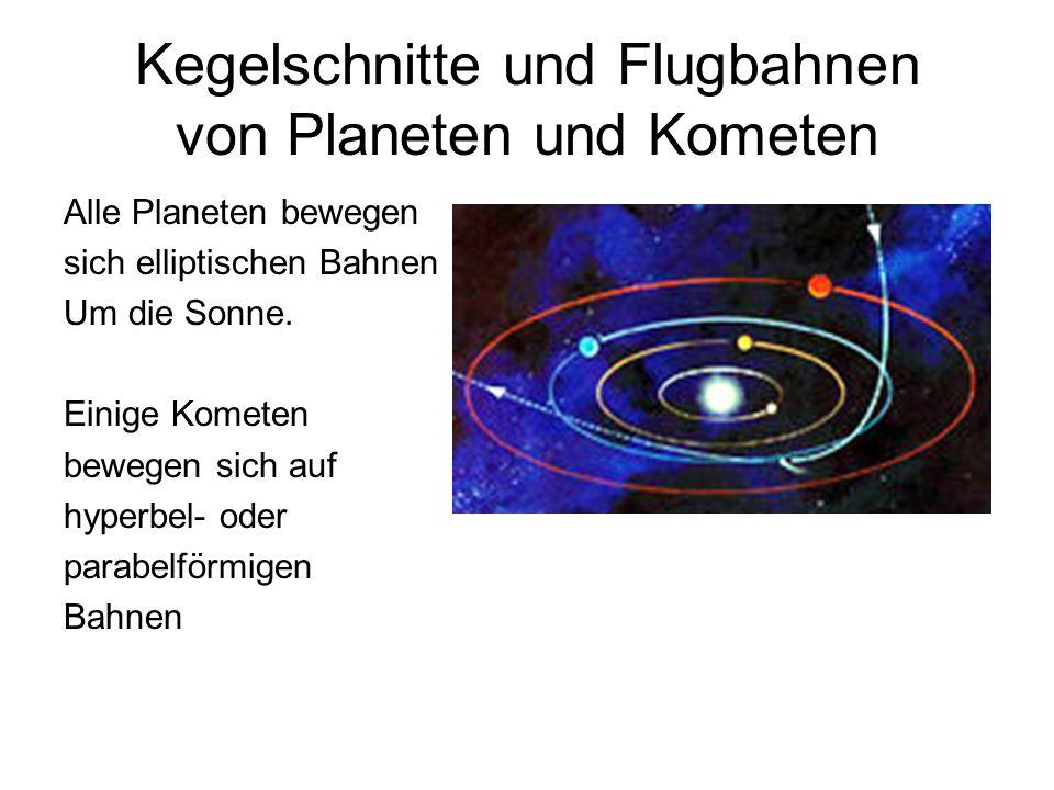 Kegelschnitte und Flugbahnen von Planeten und Kometen Alle Planeten bewegen sich elliptischen Bahnen Um die Sonne. Einige Kometen bewegen sich auf hyp