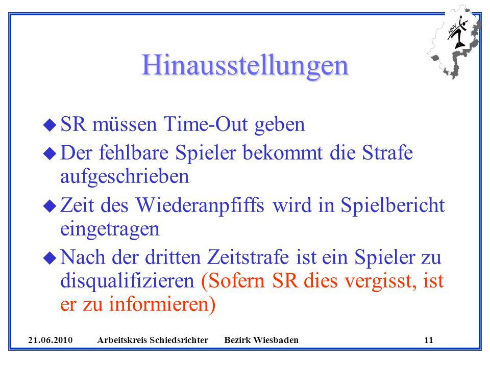 21.06.2010 Arbeitskreis SchiedsrichterBezirk Wiesbaden 11 Hinausstellungen u SR müssen Time-Out geben u Der fehlbare Spieler bekommt die Strafe aufges