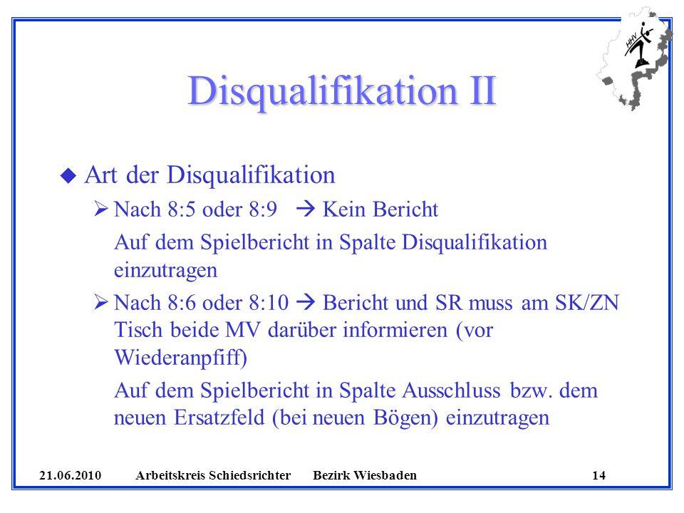 21.06.2010 Arbeitskreis SchiedsrichterBezirk Wiesbaden 14 Disqualifikation II u Art der Disqualifikation Nach 8:5 oder 8:9 Kein Bericht Auf dem Spielb
