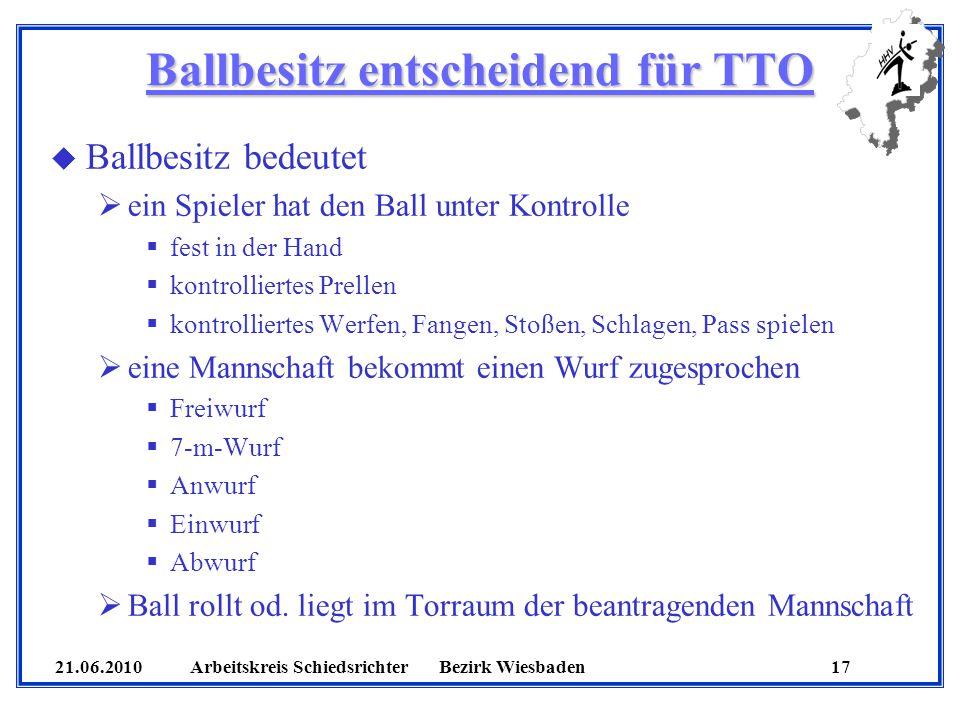 21.06.2010 Arbeitskreis SchiedsrichterBezirk Wiesbaden 17 Ballbesitz entscheidend für TTO u Ballbesitz bedeutet ein Spieler hat den Ball unter Kontrolle fest in der Hand kontrolliertes Prellen kontrolliertes Werfen, Fangen, Stoßen, Schlagen, Pass spielen eine Mannschaft bekommt einen Wurf zugesprochen Freiwurf 7-m-Wurf Anwurf Einwurf Abwurf Ball rollt od.