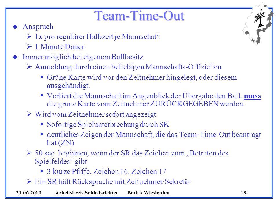 21.06.2010 Arbeitskreis SchiedsrichterBezirk Wiesbaden 18 Team-Time-Out u Anspruch 1x pro regulärer Halbzeit je Mannschaft 1 Minute Dauer u Immer mögl