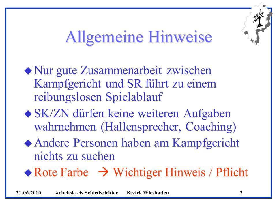 21.06.2010 Arbeitskreis SchiedsrichterBezirk Wiesbaden 23 Sonstiges u 14 Spieler sind erlaubt u Betritt ein nicht teilnahmeberechtigter Spieler das Spielfeld wird dieser, wenn noch möglich, nachgetragen (nicht mehr persönlich bestraft!), ansonsten von den SR der Spielfläche verwiesen und der MV wird progressiv bestraft u Bei einem direkten Freiwurf am Ende der 1.