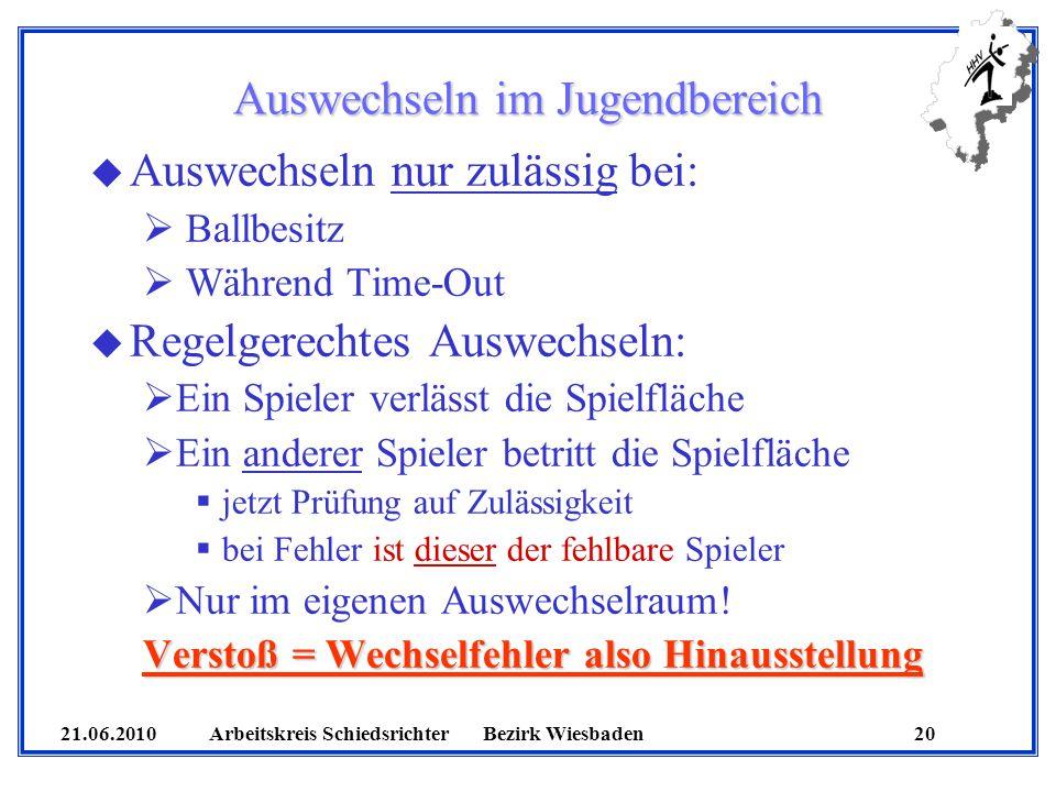 21.06.2010 Arbeitskreis SchiedsrichterBezirk Wiesbaden 20 Auswechseln im Jugendbereich u Auswechseln nur zulässig bei: Ballbesitz Während Time-Out u R