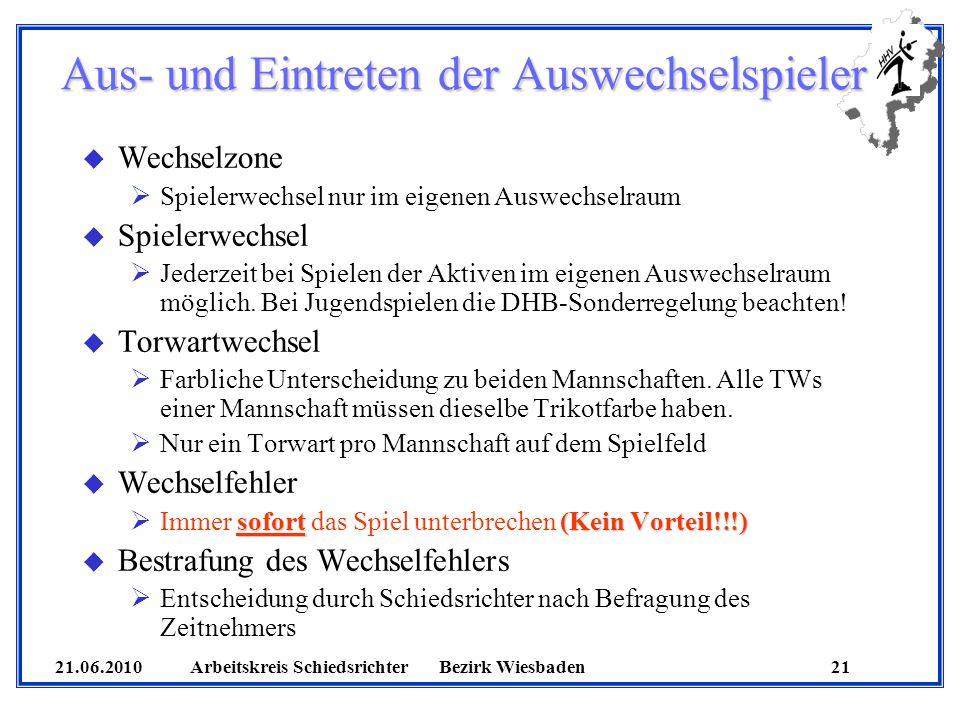 21.06.2010 Arbeitskreis SchiedsrichterBezirk Wiesbaden 21 Aus- und Eintreten der Auswechselspieler u Wechselzone Spielerwechsel nur im eigenen Auswech