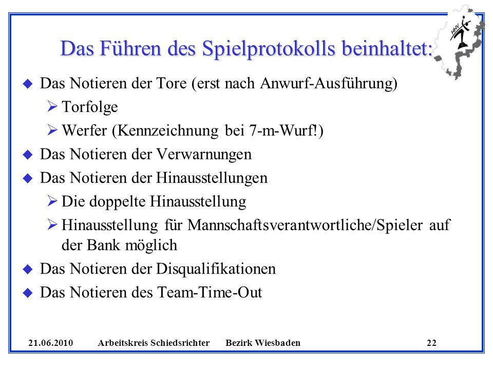 21.06.2010 Arbeitskreis SchiedsrichterBezirk Wiesbaden 22 Das Führen des Spielprotokolls beinhaltet: u Das Notieren der Tore (erst nach Anwurf-Ausführ