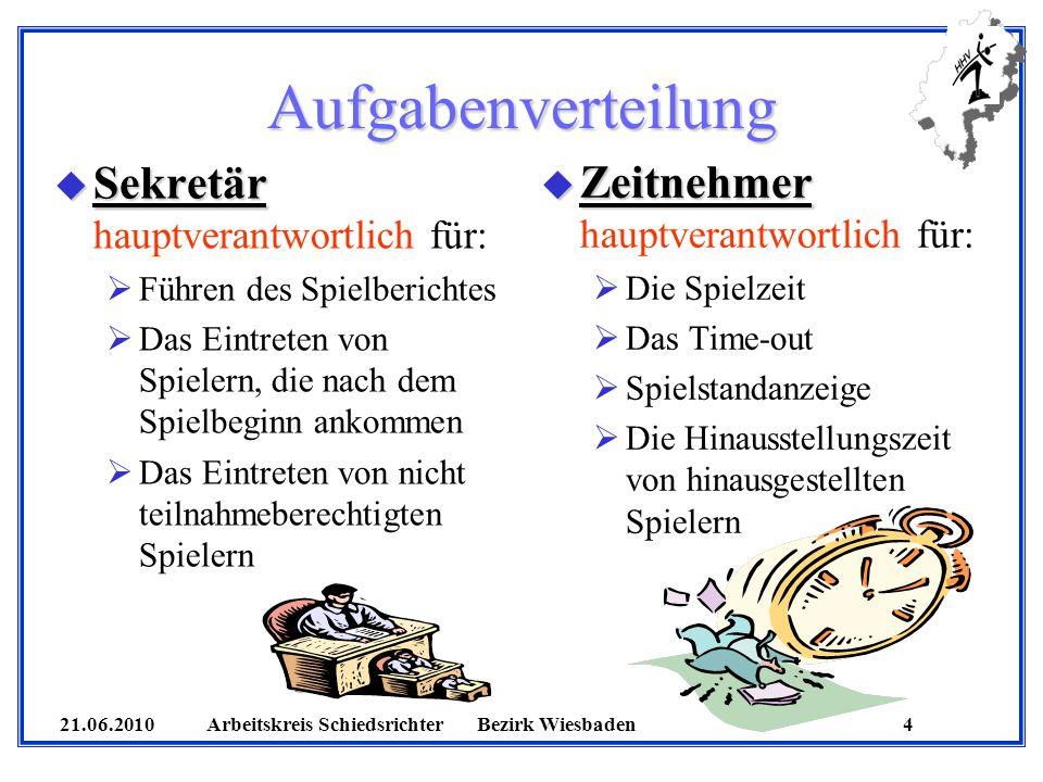21.06.2010 Arbeitskreis SchiedsrichterBezirk Wiesbaden 4 Aufgabenverteilung u Sekretär u Sekretär hauptverantwortlich für: Führen des Spielberichtes D