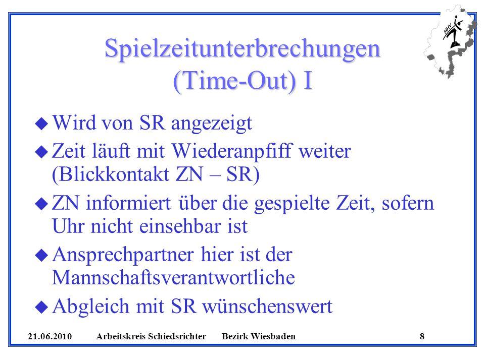 21.06.2010 Arbeitskreis SchiedsrichterBezirk Wiesbaden 8 Spielzeitunterbrechungen (Time-Out) I u Wird von SR angezeigt u Zeit läuft mit Wiederanpfiff