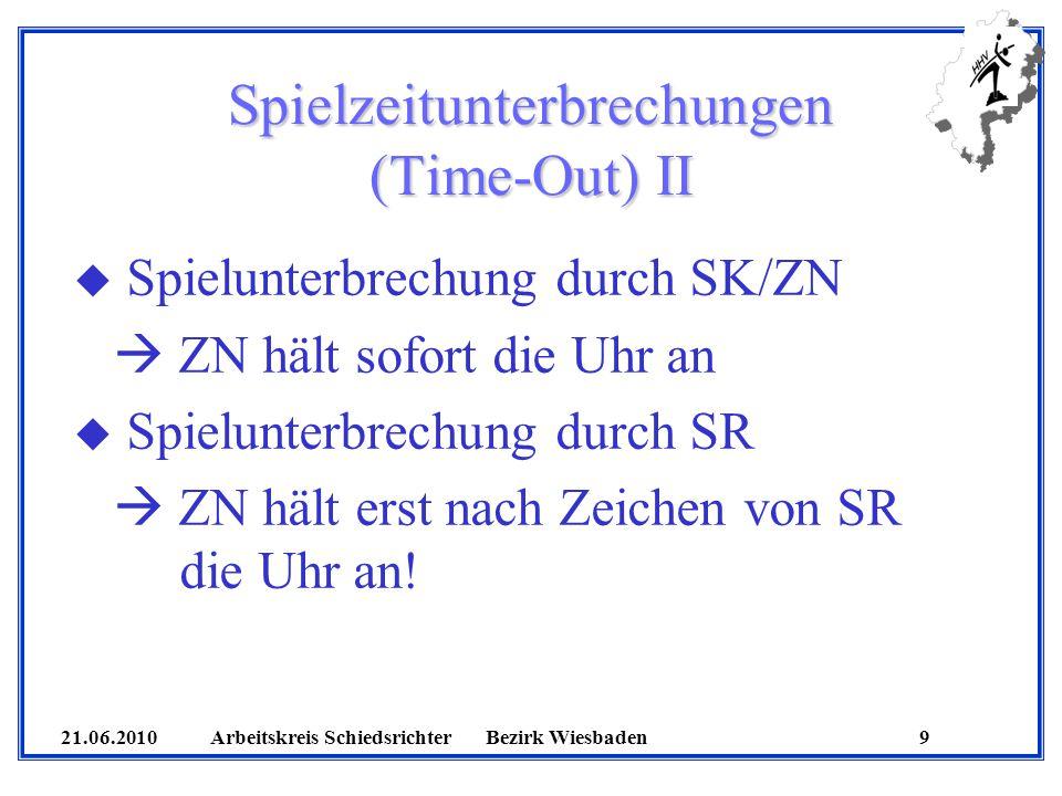 21.06.2010 Arbeitskreis SchiedsrichterBezirk Wiesbaden 9 Spielzeitunterbrechungen (Time-Out) II u Spielunterbrechung durch SK/ZN ZN hält sofort die Uhr an u Spielunterbrechung durch SR ZN hält erst nach Zeichen von SR die Uhr an!