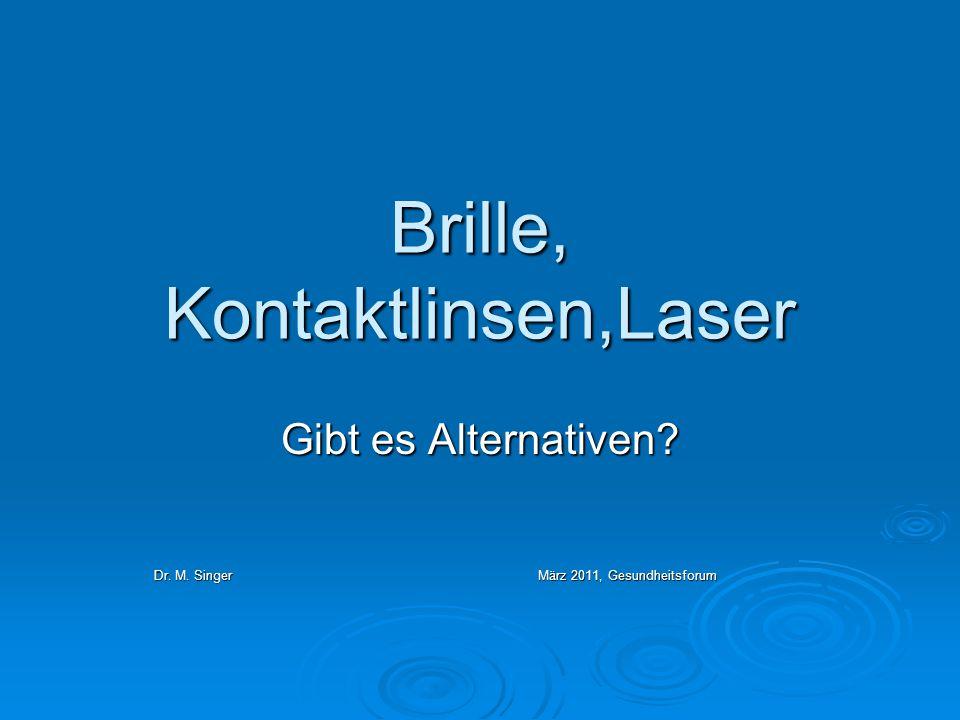 Brille, Kontaktlinsen,Laser Gibt es Alternativen? Dr. M. SingerMärz 2011, Gesundheitsforum