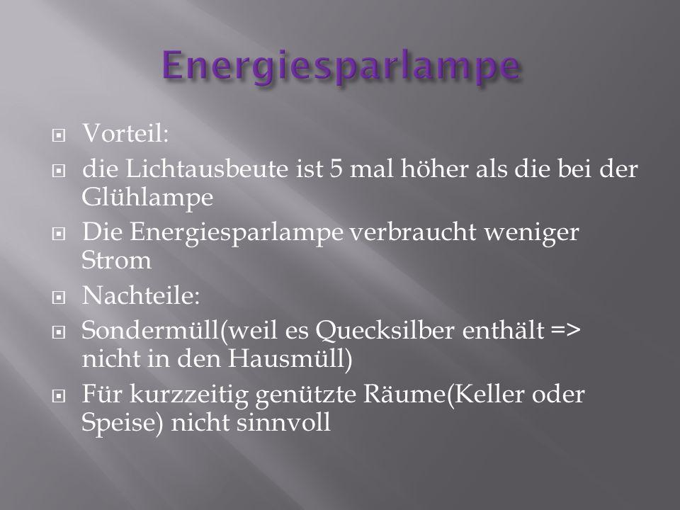 Vorteil: die Lichtausbeute ist 5 mal höher als die bei der Glühlampe Die Energiesparlampe verbraucht weniger Strom Nachteile: Sondermüll(weil es Queck