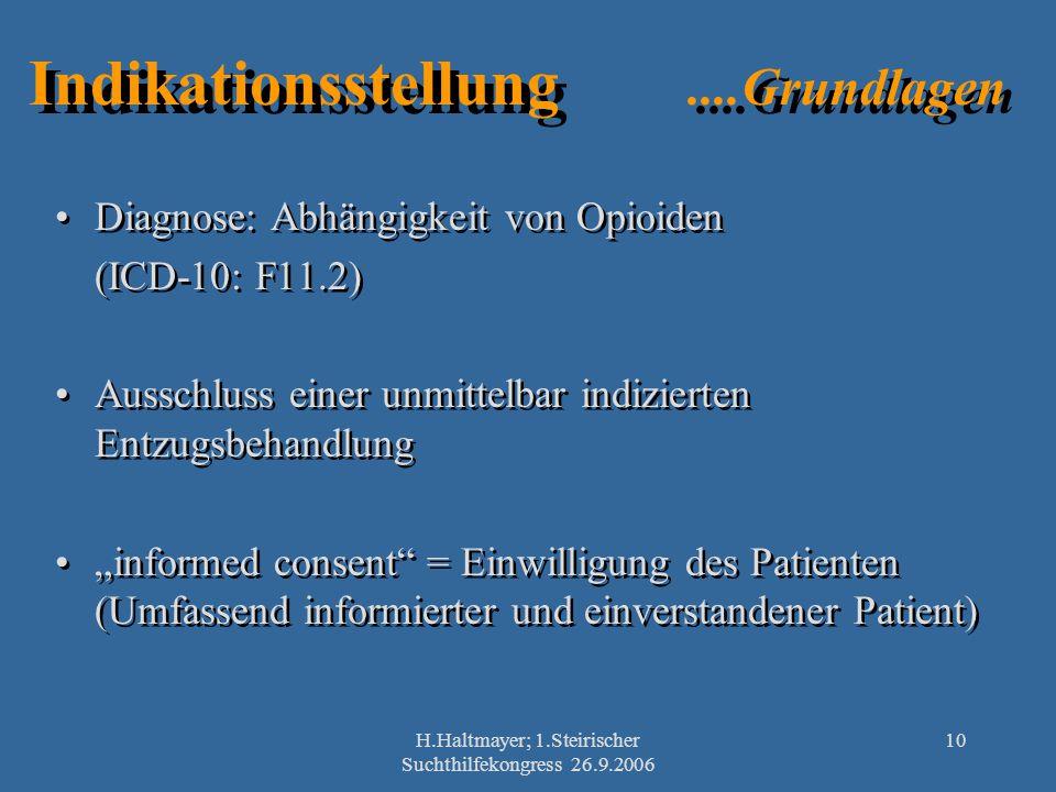 H.Haltmayer; 1.Steirischer Suchthilfekongress 26.9.2006 10 Indikationsstellung....Grundlagen Diagnose: Abhängigkeit von Opioiden (ICD-10: F11.2) Aussc