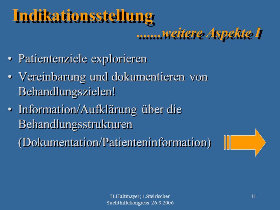 H.Haltmayer; 1.Steirischer Suchthilfekongress 26.9.2006 11 Indikationsstellung.......weitere Aspekte I Patientenziele explorieren Vereinbarung und dok
