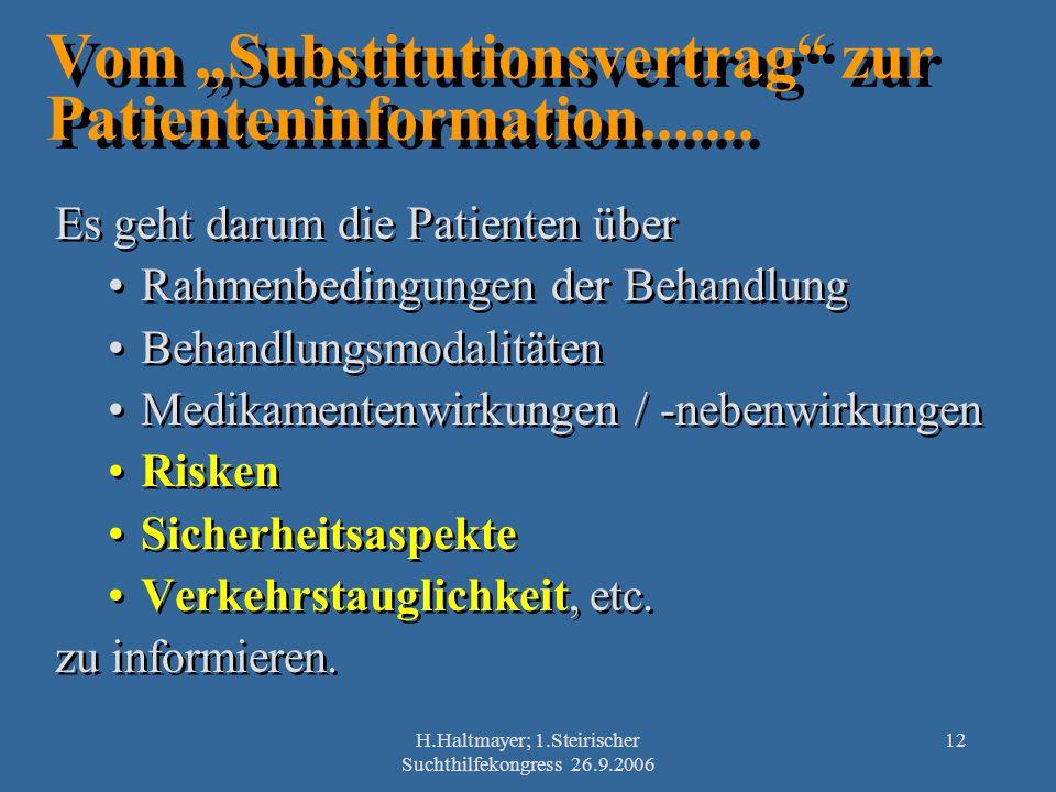 H.Haltmayer; 1.Steirischer Suchthilfekongress 26.9.2006 12 Es geht darum die Patienten über Rahmenbedingungen der Behandlung Behandlungsmodalitäten Me