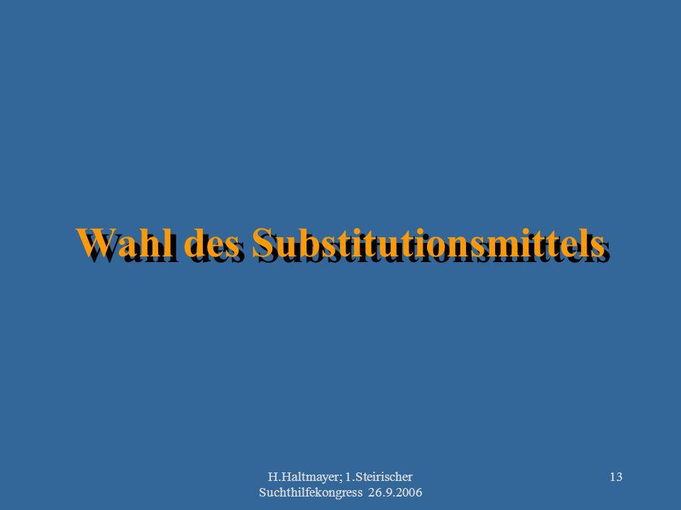 H.Haltmayer; 1.Steirischer Suchthilfekongress 26.9.2006 13 Wahl des Substitutionsmittels