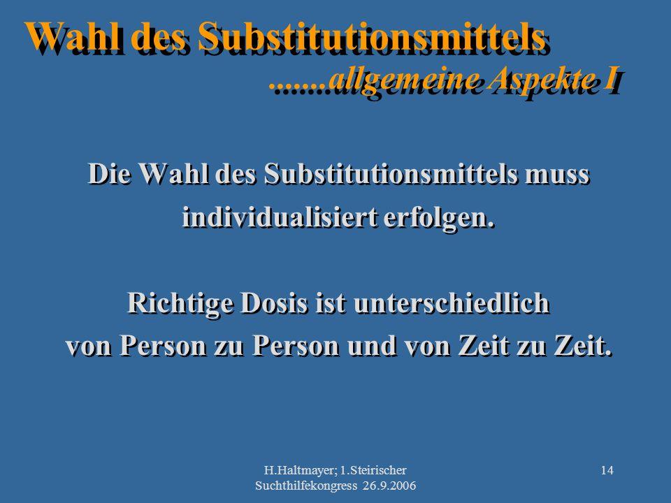 H.Haltmayer; 1.Steirischer Suchthilfekongress 26.9.2006 14 Wahl des Substitutionsmittels.......allgemeine Aspekte I Die Wahl des Substitutionsmittels