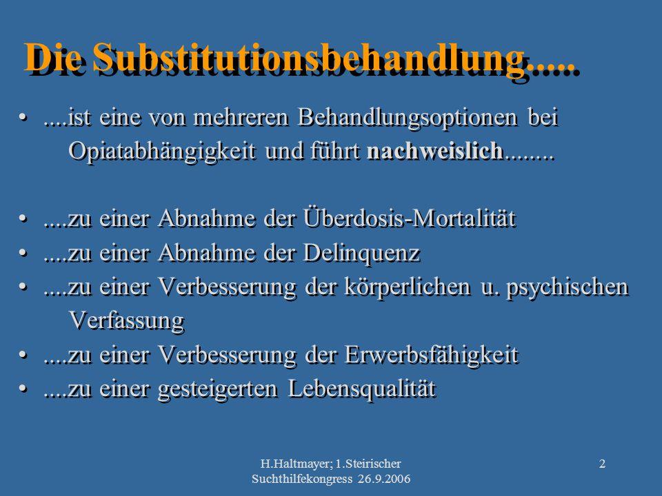 H.Haltmayer; 1.Steirischer Suchthilfekongress 26.9.2006 2 Die Substitutionsbehandlung.........ist eine von mehreren Behandlungsoptionen bei Opiatabhän