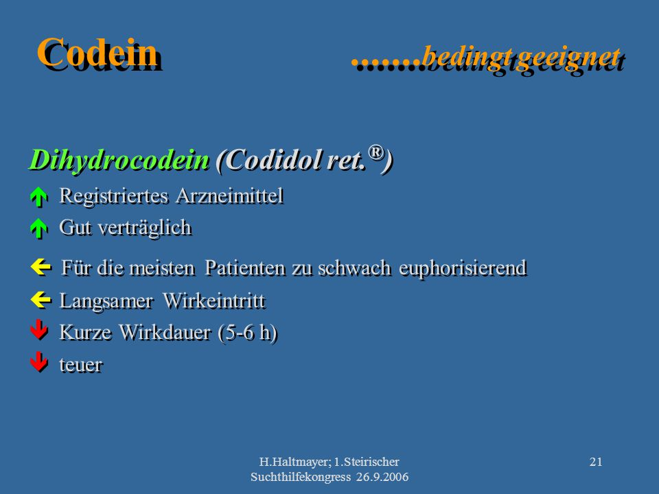 H.Haltmayer; 1.Steirischer Suchthilfekongress 26.9.2006 21 Codein....... bedingt geeignet Dihydrocodein (Codidol ret. ® ) Registriertes Arzneimittel G