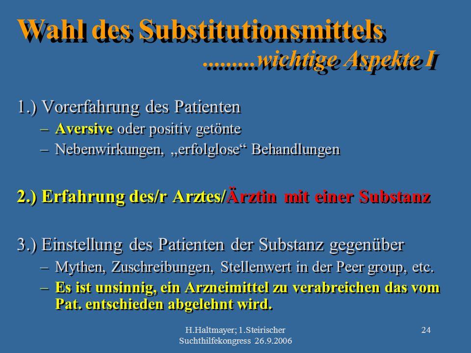 H.Haltmayer; 1.Steirischer Suchthilfekongress 26.9.2006 24 Wahl des Substitutionsmittels.........wichtige Aspekte I 1.) Vorerfahrung des Patienten –Av