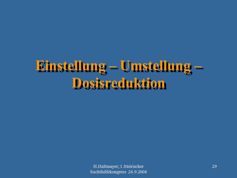 H.Haltmayer; 1.Steirischer Suchthilfekongress 26.9.2006 29 Einstellung – Umstellung – Dosisreduktion