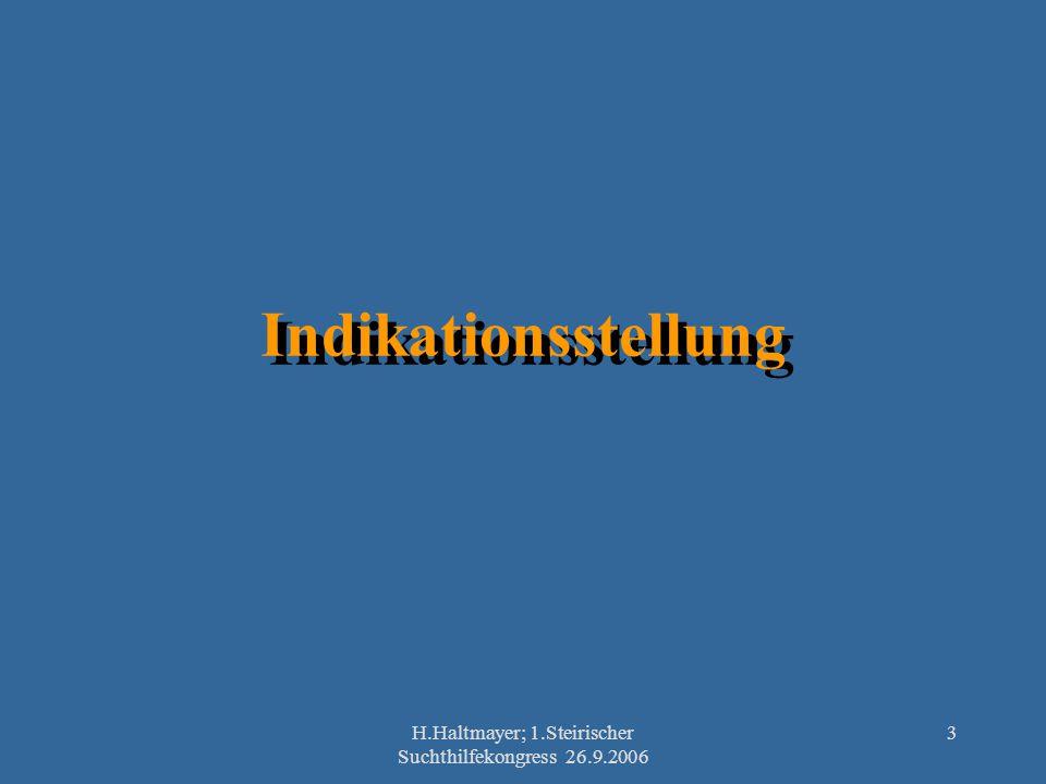 H.Haltmayer; 1.Steirischer Suchthilfekongress 26.9.2006 3 Indikationsstellung