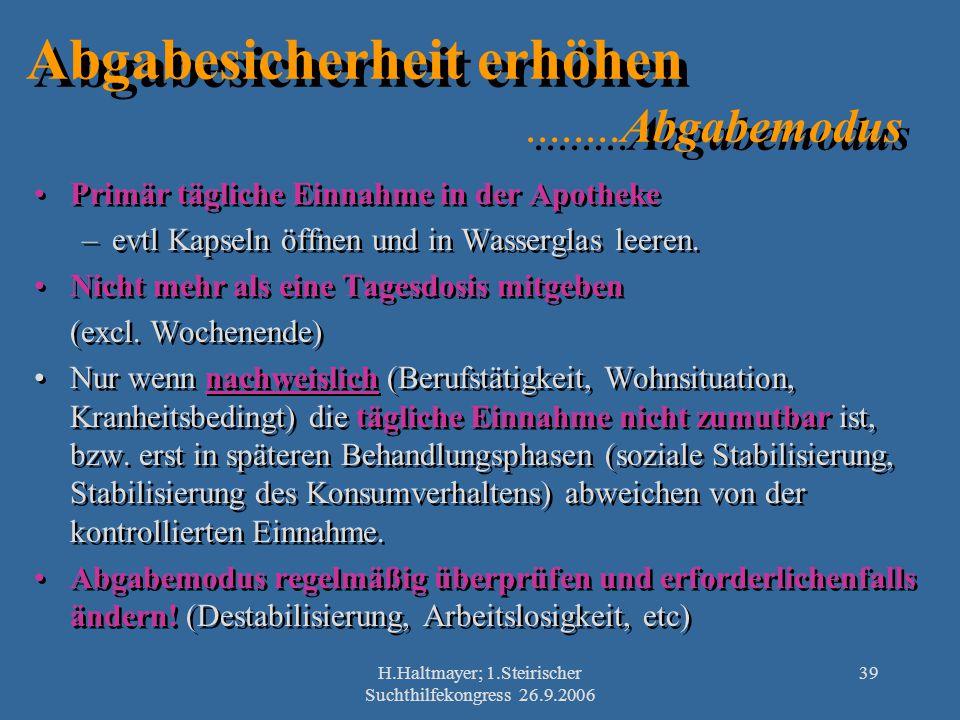 H.Haltmayer; 1.Steirischer Suchthilfekongress 26.9.2006 39 Abgabesicherheit erhöhen........Abgabemodus Primär tägliche Einnahme in der Apotheke –evtl