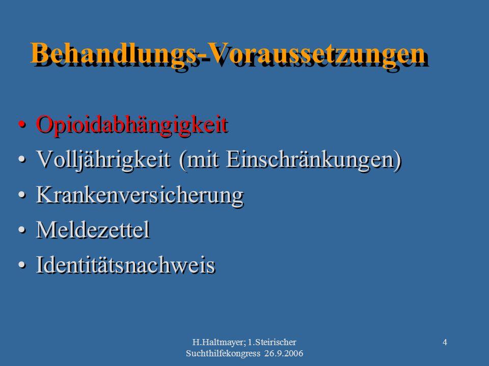 H.Haltmayer; 1.Steirischer Suchthilfekongress 26.9.2006 4 Behandlungs-Voraussetzungen Opioidabhängigkeit Volljährigkeit (mit Einschränkungen) Krankenv