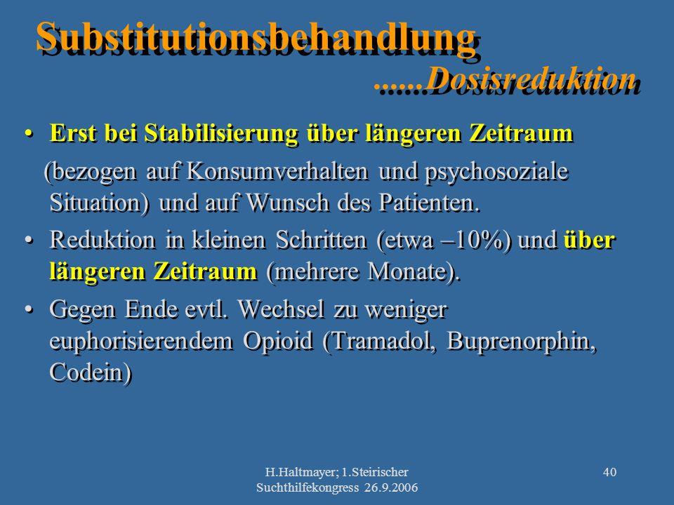 H.Haltmayer; 1.Steirischer Suchthilfekongress 26.9.2006 40 Substitutionsbehandlung......Dosisreduktion Erst bei Stabilisierung über längeren Zeitraum