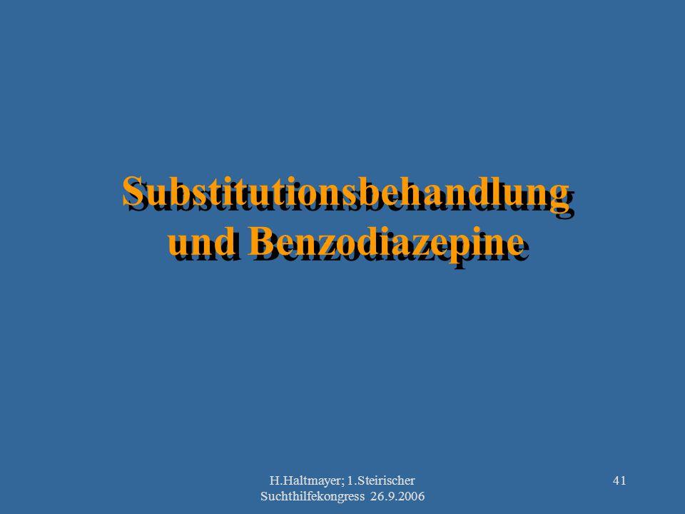 H.Haltmayer; 1.Steirischer Suchthilfekongress 26.9.2006 41 Substitutionsbehandlung und Benzodiazepine
