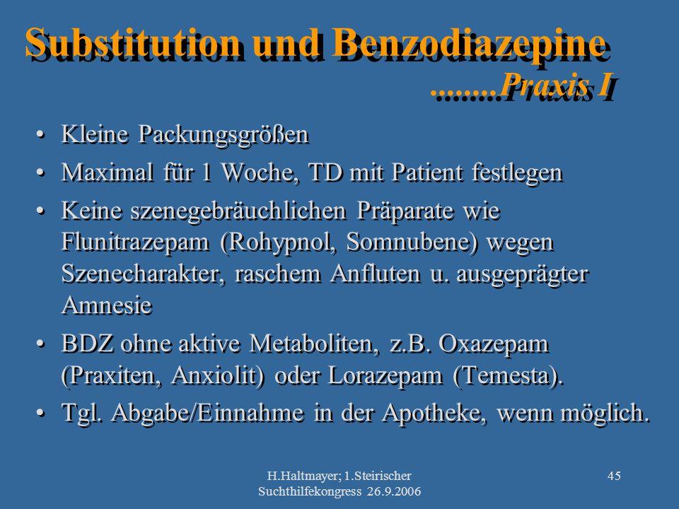 H.Haltmayer; 1.Steirischer Suchthilfekongress 26.9.2006 45 Substitution und Benzodiazepine........Praxis I Kleine Packungsgrößen Maximal für 1 Woche,