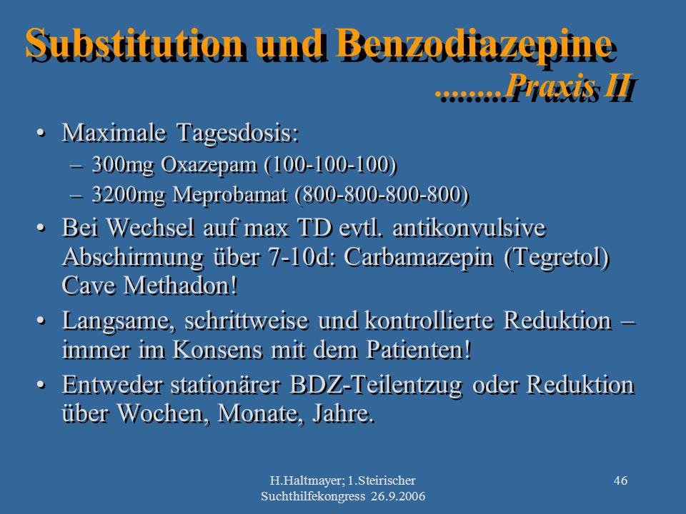 H.Haltmayer; 1.Steirischer Suchthilfekongress 26.9.2006 46 Substitution und Benzodiazepine........Praxis II Maximale Tagesdosis: –300mg Oxazepam (100-