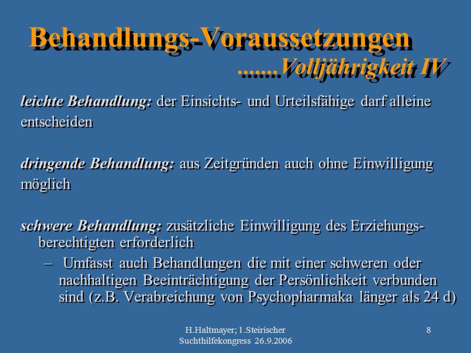 H.Haltmayer; 1.Steirischer Suchthilfekongress 26.9.2006 8 Behandlungs-Voraussetzungen.......Volljährigkeit IV leichte Behandlung: der Einsichts- und U