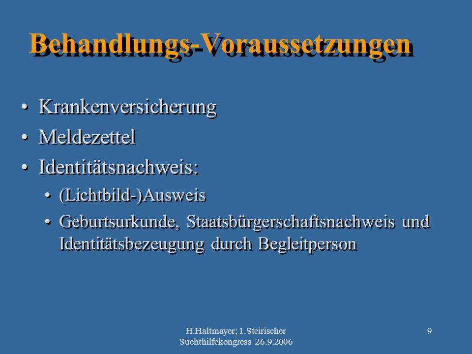 H.Haltmayer; 1.Steirischer Suchthilfekongress 26.9.2006 9 Behandlungs-Voraussetzungen Krankenversicherung Meldezettel Identitätsnachweis: (Lichtbild-)